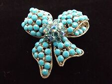 Kirks Folly Silver Turquoise Blue Rhinestone Bow Necklace Pendant Brooch Pin *
