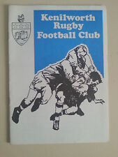 Kenilworth v chilly mazarin (france) rugby union programme août 1979 rare