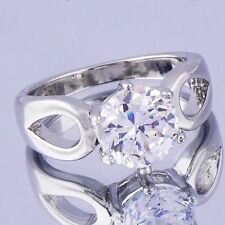 Authentic Engagement crystal Crystal 9K white Gold Plated Ladies Ring,size 8