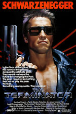 THE TERMINATOR movie poster SCHWARZENEGGER and HAMILTON destruction 24X36