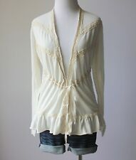 GUINEVERE Anthropologie Lace Knit Tie Waist Ruffle Cardigan Sweater Wrap Top M
