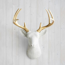 Wall Charmers Deer in White + Gold Antler Faux Head Fake Animal Taxidermy Buck