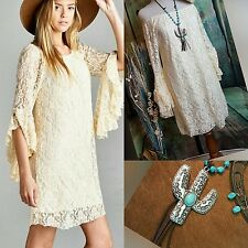 Country CREAM LACE DRESS Ruffle Sleeves COWGIRL GYPSY Western Boho 2XL  nwt