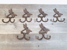 6 Cast Iron DRAGONFLY Towel Hooks Hat Rack Coat Hook Rustic Dragon Fly Double