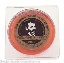 COL ICHABOD CONK AMBER GLYCERINE SHAVE SOAP TWO 2.25 OUNCE CAKES