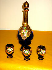 VINTAGE MURANO GLASS NAVY BLUE&GOLD LUSTRE DECANTER and 3xGLASSES some damage