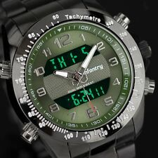 INFANTRY Mens LCD Digital Quartz Wrist Watch Chronograph Luxury Stainless Steel