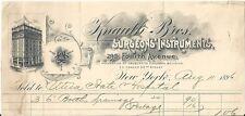 1896 Billhead - Knauth Bros. Surgeon's Instruments - New York, NY
