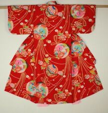 Japanese vintage silk katazome  Charming red child kimono