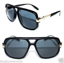 Vintage 627 Sunglasses Black Gold Frame Men's Aviator Run DMC Grandmaster 564