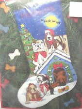 """1998 New Dimensions Christmas Needlepoint Stocking Kit HOLIDAY HOUNDS 16"""" DOGS"""