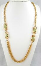 Gold Tone Long Chains 2 Lt Green Swirled Enamel Stations Fashion Necklace 34.5""