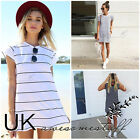 UK Womens Summer T-Shirt Dress Ladies Striped Mini Party Sun Dress Size 6 - 14