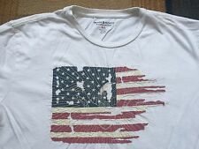 Ralph Lauren Denim and Supply White USA Flag T Shirt XL 100% Cotton Distressed