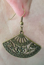 HOT Fashion  Drop Dangle BRONZED Fan Earrings.Detailed Both Sides. As Pictured.