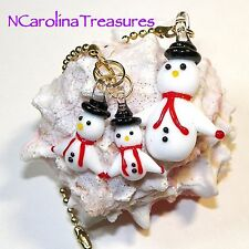 SNOWMAN FROSTY CHRISTMAS HOLIDAY MURANO ART GLASS CEILING FAN SWITCH PULLS SET