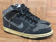 RARE�� Nike Dunk High Hi Black Denim Distressed White '06 Sz 9 312423-001 VNTG