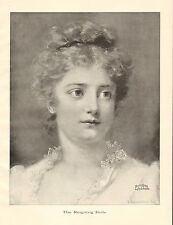 Pretty Lady, The Reigning Belle, Portrait, Vintage 1898 Antique Art Print