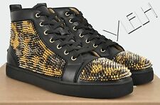 CHRISTIAN LOUBOUTIN Authentic New Black Louis Leopard Mini Spikes Sneakers sz 44