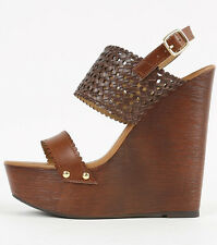 Womens Cut Out Wooden Wedge Open Toe Slingback Ankle Strap PU-Leather Shoes Gold