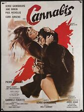 "CANNABIS 1970 French 23""x31"" poster Serge Gainsbourg Jane Birkin Filmartgallery"