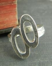 Modern Artist Sterling Silver Oval Google Eyes Ring - Size 7.75