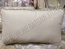 Frontgate Outdoor All Weather Lumbar Pillow Tan Sand 20x13 Solid Braid Piping