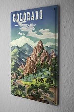 Tin Sign World Trip  Colorado mountains  Decorative Wall Plate