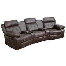REEL COMFORT SERIES 3-SEAT RECLINING BROWN LEATHER THEATER SEATING UNIT