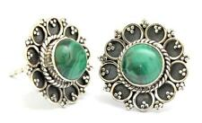 Malachite Gemstone Stud Earrings Solid 925 Sterling Silver Jewelry IE18074