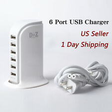 Multi 6 USB Port Charger Hub Charging Accessorie 6A Rapid Charging Station WHITE