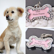 Stylish Dog Pet Puppy Metal Rhinestone Collar ID Name Tag Bone Shaped Decoration