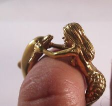 10 KT SOLID YELLOW GOLD  MERMAID AND  DOLPHIN RING SIZE 6.5