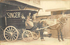 Singer Sewing Machine Horse & Delivery Wagon Real Photo RPPC Postcard