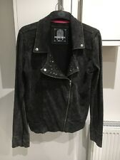 GREY SHABBY LONG SLEEVED COTTON STUDDED BIKER JACKET SIZE 14 DENIM & CO PRIMARK