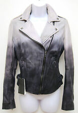 NWT! 4 UK 8 MuuBaa Fornas Ash Black Gray Ombre Leather Fitted Waist Biker Jacket