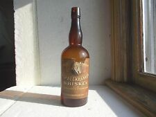 INDIANAPOLIS OLD BUCKHANNON WHISKEY LABELED HAND BLOWN PRE PROHIBITION BOTTLE