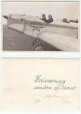 Männer im Flugzeug JEHLE Sport Flug auf Flughafen Foto AK Airplane RPPC 1935
