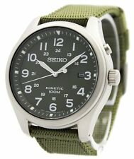 Seiko Kinetic Military Green Dial 100M SKA725 SKA725P1 SKA725P Mens Watch