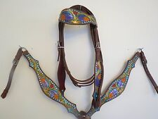 NEW LEATHER WESTERN HEADSTALL BRIDLE BREAST COLLAR TACK SET PRPLEAFORNG