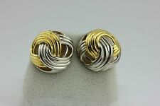 925 STERLING SILVER TWO TONE DOMED ROUND EARRING STUD VINTAGE ESTATE BUTTON