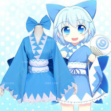 Anime TouHou Project Cirno Cute Kimono Cosplay Lolita Dress Maid Singing Costume