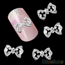 10PCS Alloy 3D Glitter Bow Nail Art Tips Decoration Hollow Jewelry Rhinestone