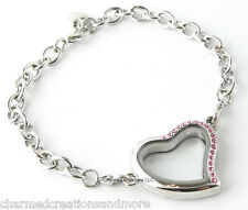 SECURITY CLASP Pink Crystal Silver Heart Floating Charm Memory Locket Bracelet