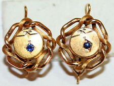 ANTIQUE VICTORIAN FRENCH 18K GOLD LOVE KNOT SAPPHIRE HAND MADE EARRINGS c 1880