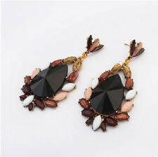 Fashion Unique Charm Resin Drop Leaves Brim Flower Drop Dangle Ear Stud Earring