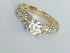 1.50 carat 14k yellow Gold man made Round Diamond Engagement Ring S 7