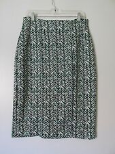 New York & Company Stretch Black/Green Print  Below Knee Pencil Skirt NWOT SZ:10