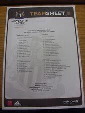 Colore 09/08/2008 teamsheet: Newcastle United V Valencia [ amichevole ]. condizione: