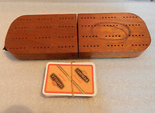 Handmade Mahogany Cribbage Board with deck of cards folding construction